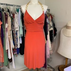 Wet a Seal Orange Halter Chain Dress Small